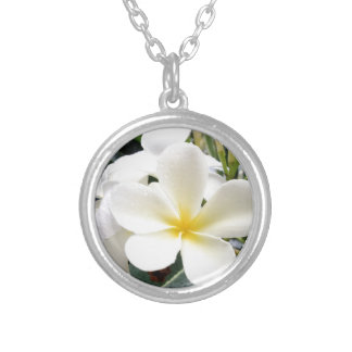 White Floral Silver Plated Necklace