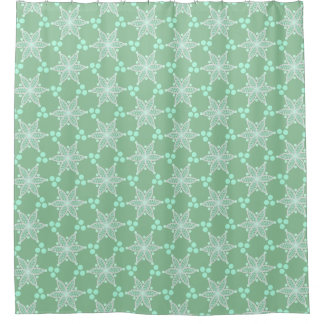 White floral stars and spots on pastel green
