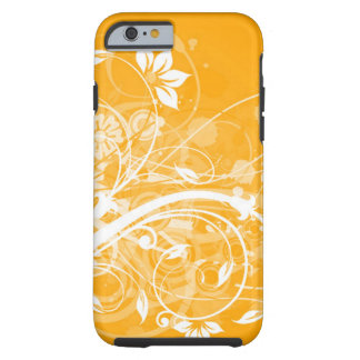 white floral swirls on yellow background tough iPhone 6 case