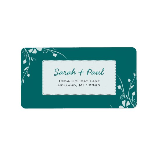 White Floral Swirls on Your Colour Address Label