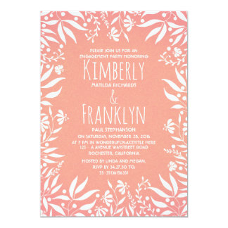 White Floral Vintage Garden Engagement Party Card