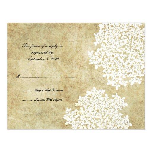 White Floral Vintage Wedding RSVP Invites