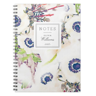 White Floral Watercolor Name Lastname Notebook