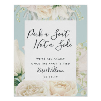 White Floral Wedding Ceremony Seating Poster
