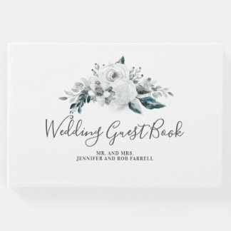 White Floral Wedding Guest Book