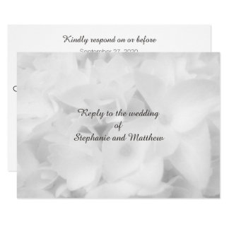 White Floral Wedding RSVP With Menu Entrees Card