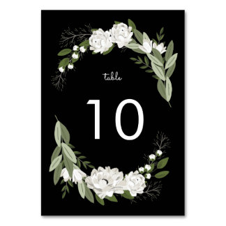 White Floral Wedding Sprigs Table Number