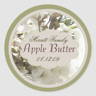 white floral with green canning label round sticker