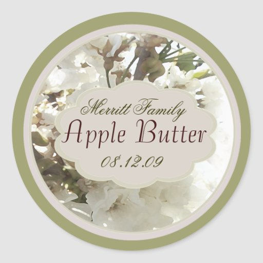 white floral with green canning label stickers