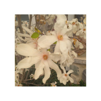 White floral wood art wood canvases