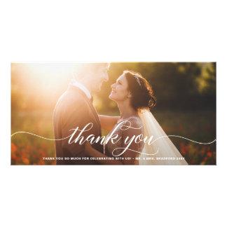 White Flourish Script Wedding Thank You Card