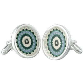 White Flower and Cerulean Blue Mandala Cuff Links