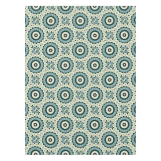 White Flower and Cerulean Blue Mandala Tablecloth