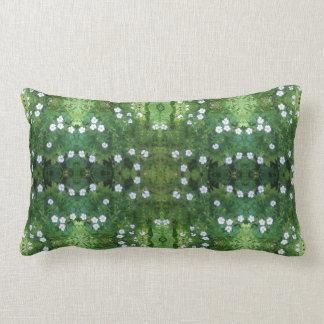 White FLower Fractal Lumbar Pillow
