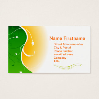 White flower Green Grass with Orange Sunny Sunset Business Card