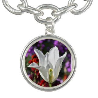 White Flower in Blossom Necklace Charm Bracelet