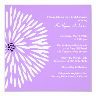 White Flower Lilac Spring Bridal Shower Invitation