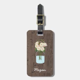 White Flower Mason Jar on Dark Wood Luggage Tag