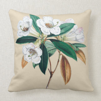 White flower of rhododendron botanical cushion