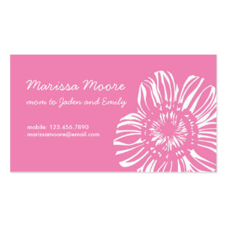 White Flower on Pink Card Business Card