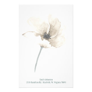 White Flower Personalized Stationery