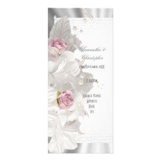 White flower pink rose church wedding program