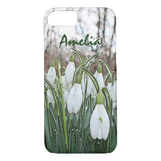 White flower print, spring snowdrops iPhone 7 case