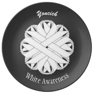 White Flower Ribbon by Kenneth Yoncich Plate