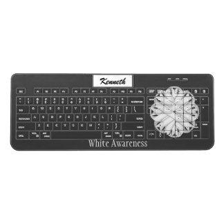 White Flower Ribbon by Kenneth Yoncich Wireless Keyboard