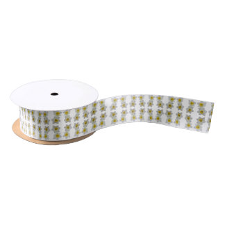 white flower ribbon satin ribbon