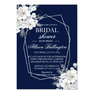 White flower sakura navy blue Bridal Shower Card