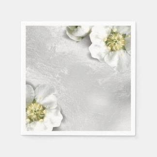 White Flower Silver Gray Glass Metallic Delicate Disposable Napkins