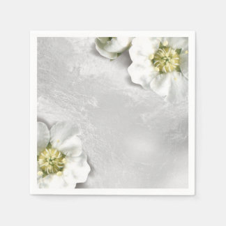 White Flower Silver Gray Glass Metallic Delicate Paper Napkin