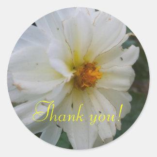 White Flower Thank You Sticker