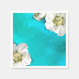 White Flower Tiffany Aqua Glass Metallic Delicate Paper Napkin