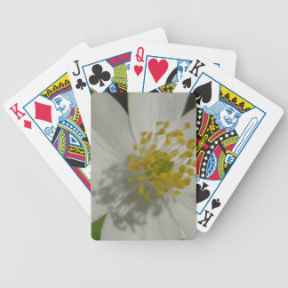 White flower with yellow middle bicycle playing cards
