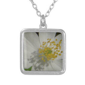 White flower with yellow middle silver plated necklace