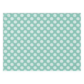 White Flowerbursts on Teal Tablecloth