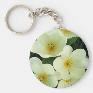 White flowers 2 basic round button keychain