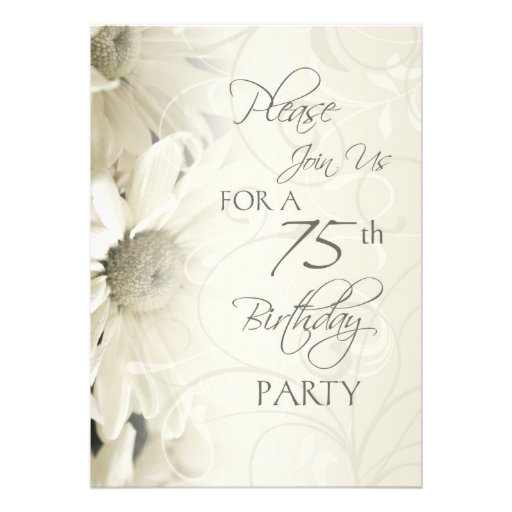 White Flowers 75th Birthday Party Invitations
