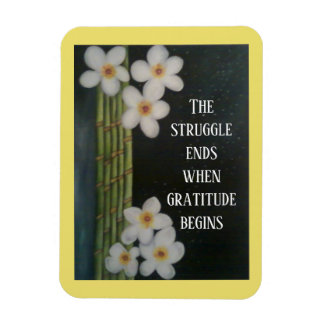White flowers and Bamboo with inspirational quote Magnet