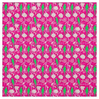 WHITE FLOWERS AND GREEN PARROTS ON PINK FABRIC