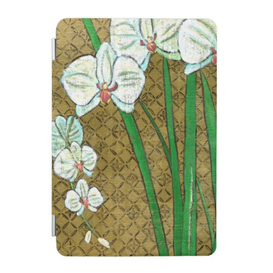 White Flowers and Green Stems on Brown Border iPad Mini Cover