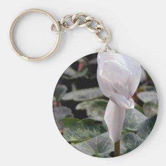 White Flowers Basic Round Button Keychain