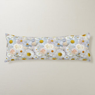 White Flowers Bouquet Floral Wedding Bridal Spring Body Pillow