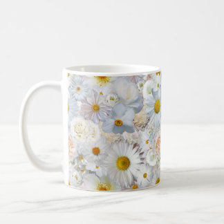 White Flowers Bouquet Floral Wedding Bridal Spring Coffee Mug