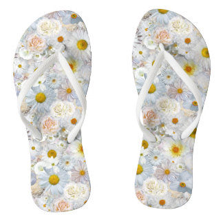 White Flowers Bouquet Floral Wedding Bridal Spring Flip Flops