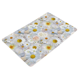 White Flowers Bouquet Floral Wedding Bridal Spring Floor Mat