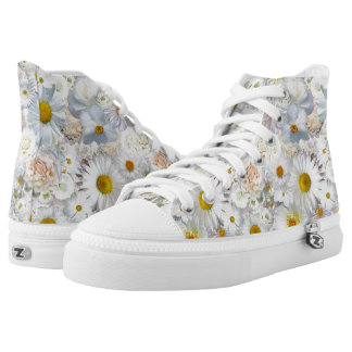 White Flowers Bouquet Floral Wedding Bridal Spring High Tops