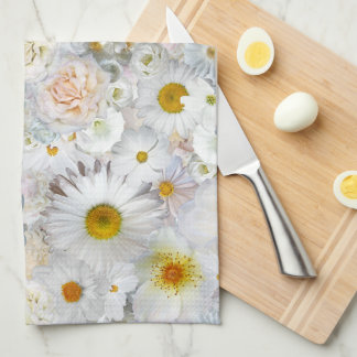White Flowers Bouquet Floral Wedding Bridal Spring Kitchen Towel